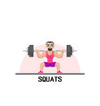 strong man doing squats vector image vector image