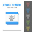 thin lined ebook reader vector image vector image