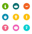 tropical vegetable icons set flat style vector image vector image