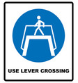 use level crossing sign blue mandatory symbol vector image vector image