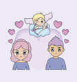 valentine day card with couple and cupid vector image vector image
