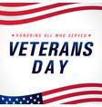 veterans day november 11 usa flag banner vector image vector image
