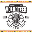 volunteer retro emblem for fire department vector image