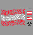 waving austria flag pattern hammers items vector image vector image