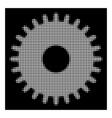white halftone cogwheel icon vector image vector image