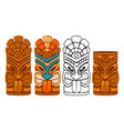 wooden tiki mask set vector image vector image