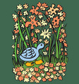 blue duck on the river bank vector image