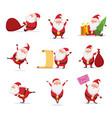 christmas symbols of funny cute santa different vector image