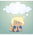 Cartoon boy with a thought bubble vector image