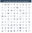 100 plant icons vector image vector image