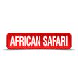 african safari red three-dimensional square button vector image