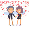boy holding girl with wings valentine day vector image vector image