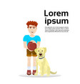 boy with labrador dog isolated on white background vector image
