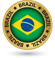 Brazil gold label with flag vector image vector image