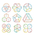 Color thick line circle triangular hexagonal vector image