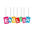 colorful hanging cardboard Tags - english vector image