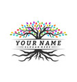 colorful vibrant tree logo design concept root vector image