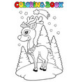 coloring book christmas reindeer 2 vector image vector image