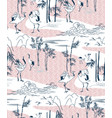 crane pattern bamboo japanese traditional vector image