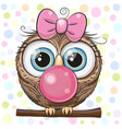 cute cartoon owl with bubble gum vector image vector image