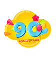 cute cartoon template 90 years anniversary vector image vector image
