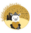 cute pig in love pig boy standing in a winter vector image