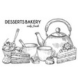 desserts bakery shop banner template hand vector image vector image