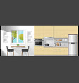 dining room and kitchen interior background vector image vector image