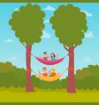 flat design characters camping hammocking vector image vector image