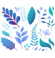 floral decorative leaves plants blue hand drawn vector image