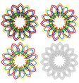 Four circular shapes similar to wicker patterns vector image
