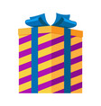 gift box isolated striped present for festival vector image vector image