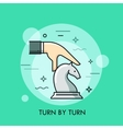 hand moving white knight chess piece vector image