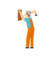 handyman hanging wooden board on wall using hammer vector image vector image