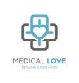health symbol logo love design vector image vector image
