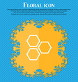 Honeycomb icon sign Floral flat design on a blue vector image vector image