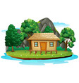 hut in isolated island vector image