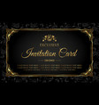 invitation card luxury gold and black design vector image vector image