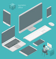isometric busines office elements vector image