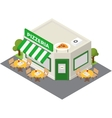 isometric pizzeria building icon vector image vector image