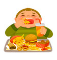 kid eating junk food vector image vector image