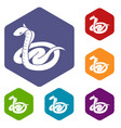 king cobra icons hexahedron vector image vector image
