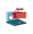 laptop computer with shopping basket vector image vector image