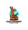 logo cute donkey mascot cartoon style vector image vector image