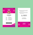 pink id card 25 vector image vector image