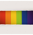 Rainbow stripes under torn paper plates vector image