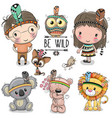 set cute tribal girl and boy and animals vector image vector image
