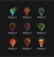 set modern tech bulb logo designs concept vector image vector image