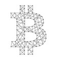 sign bitcoin from polygonal black lines and dots vector image