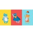 Three flat cute cats vector image vector image